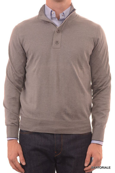 BRUNELLO CUCINELLI ITALY Solid Gray Cotton Highneck Sweater US S NEW EU 48 - SARTORIALE - 1