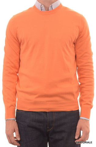 BRUNELLO CUCINELLI ITALY Orange Cotton Crewneck Sweater US S NEW EU 48 - SARTORIALE - 1
