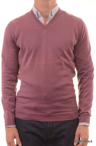 BRUNELLO CUCINELLI ITALY Solid Plum Cotton Ribbed V-Neck Sweater NEW - SARTORIALE - 1