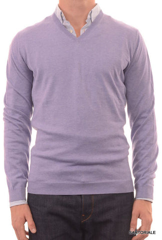 BRUNELLO CUCINELLI ITALY Purple Cotton V-Neck Sweater US XXL NEW EU 56 - SARTORIALE - 1