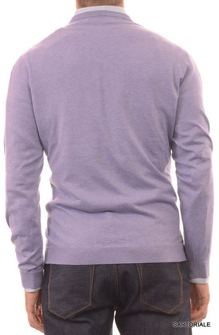 BRUNELLO CUCINELLI ITALY Purple Cotton V-Neck Sweater US XXL NEW EU 56 - SARTORIALE - 2