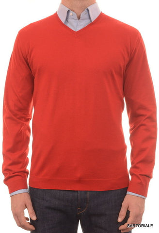 BRUNELLO CUCINELLI Red Wool - Cashmere V-Neck Sweater US XL NEW EU 54 - SARTORIALE - 1