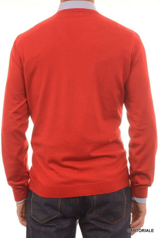 BRUNELLO CUCINELLI Red Wool - Cashmere V-Neck Sweater US XL NEW EU 54 - SARTORIALE - 2