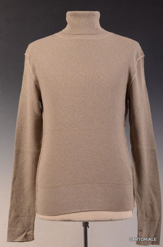 DOLCE & GABBANA Beige Metallic Wool-Silk Turtleneck Sweater EU 48 NEW US S - SARTORIALE - 1