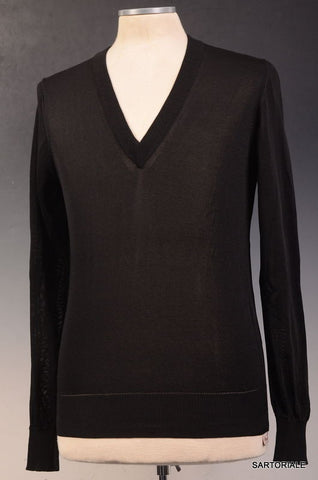 DOLCE & GABBANA Solid Black Silk V-Neck Ribbed Sweater EU 48 NEW US S - SARTORIALE - 1