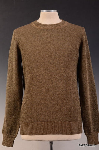 DOLCE & GABBANA Brown Gold Metallic Wool Crewneck Sweater EU 48 NEW US S - SARTORIALE - 1