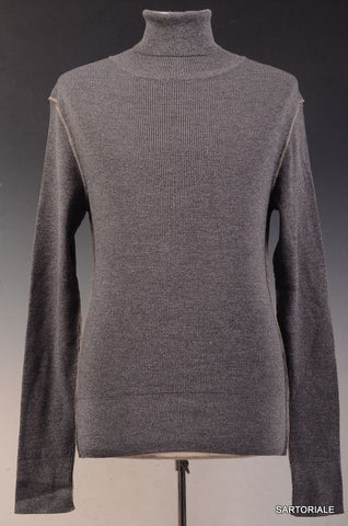 DOLCE & GABBANA Gray Metallic Wool-Silk Turtleneck Sweater EU 48 NEW US S - SARTORIALE - 1