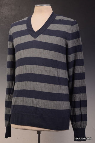 JOHN RICHMOND DENIM Blue Striped Cotton Sweater S NEW 48 - SARTORIALE - 1