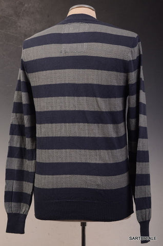 JOHN RICHMOND DENIM Blue Striped Cotton Sweater S NEW 48 - SARTORIALE - 2
