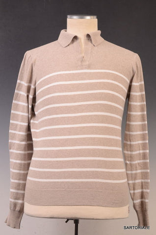 LUCIANO BARBERA Solid Brown Striped Cotton Polo Sweater 48 NEW S - SARTORIALE - 1