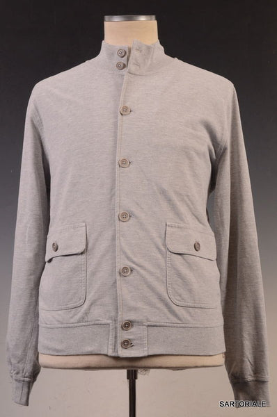 LUIGI BORRELLI NAPOLI Solid Gray Cotton Cardigan Jacket EU 50 NEW US M - SARTORIALE - 1