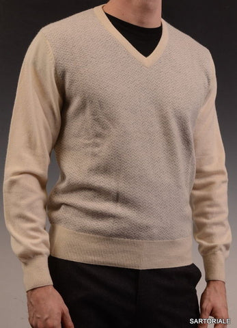 RUBINACCI Napoli Cream Geometric Cashmere Ribbed V-Neck Sweater NEW - SARTORIALE - 1