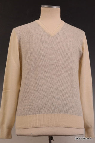 RUBINACCI Napoli Cream Geometric Cashmere Ribbed V-Neck Sweater NEW - SARTORIALE - 2