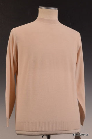 RUBINACCI Napoli Solid Beige Wool Crewneck Ribbed Sweater NEW - SARTORIALE - 1