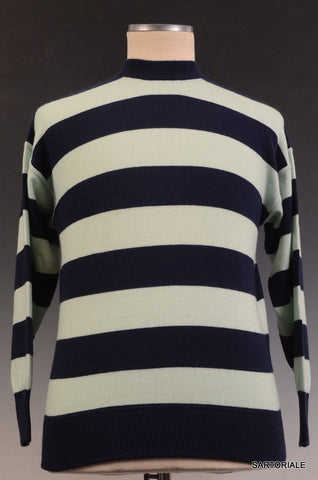 RUBINACCI Napoli Blue Striped Cashmere Crewneck Ribbed Sweater NEW - SARTORIALE - 1