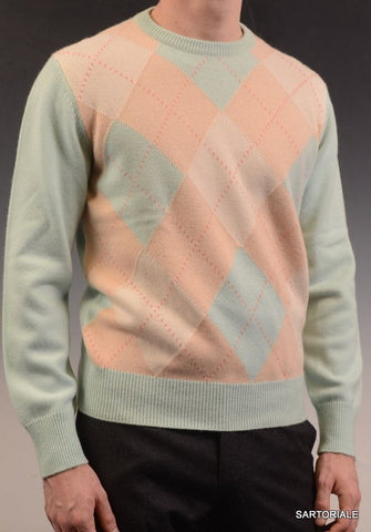 RUBINACCI Napoli Beige-Light Blue Argyle Cashmere Crewneck Sweater US M NEW 50 - SARTORIALE - 1