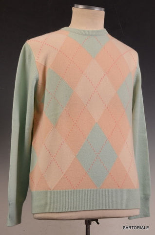 RUBINACCI Napoli Beige-Light Blue Argyle Cashmere Crewneck Sweater US M NEW 50 - SARTORIALE - 2