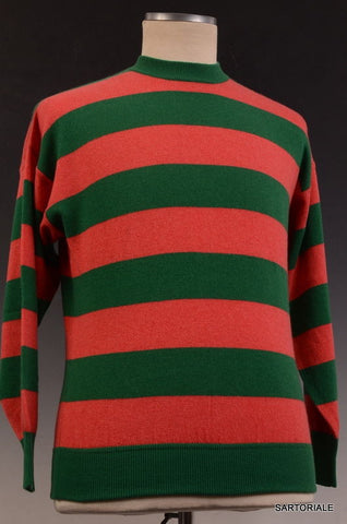 RUBINACCI Napoli Green-Red Striped Cashmere Crewneck Ribbed Sweater NEW - SARTORIALE - 1