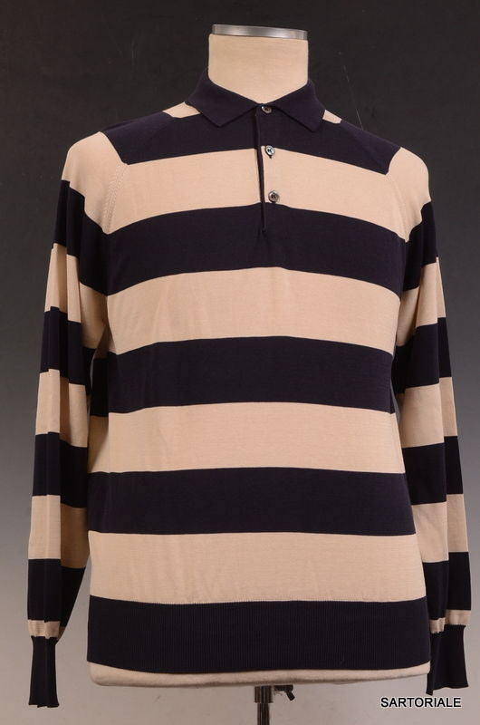 RUBINACCI Napoli Navy Blue-Beige Striped Cotton Ribbed Polo Sweater NEW - SARTORIALE - 1
