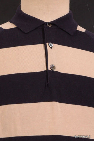 RUBINACCI Napoli Navy Blue-Beige Striped Cotton Ribbed Polo Sweater NEW - SARTORIALE - 2