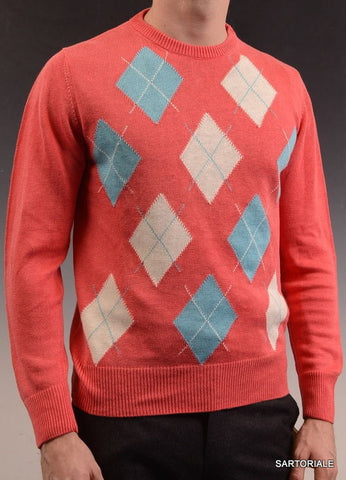 RUBINACCI Napoli Red Argyle Linen Ribbed Crewneck Sweater NEW - SARTORIALE - 1
