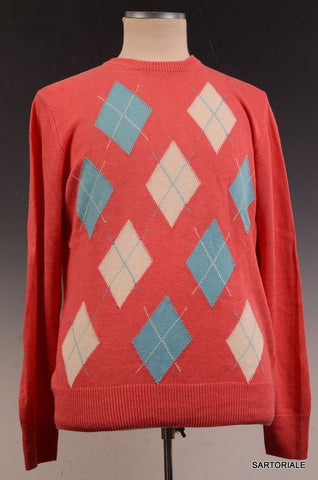 RUBINACCI Napoli Red Argyle Linen Ribbed Crewneck Sweater NEW - SARTORIALE - 2