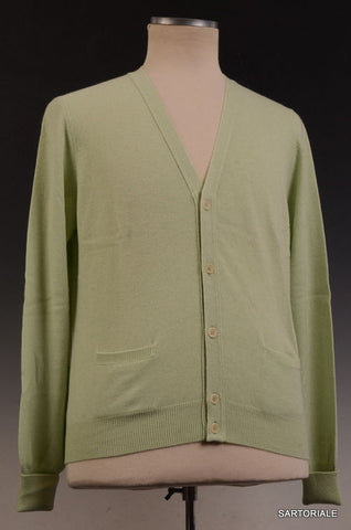 RUBINACCI Napoli Solid Light Green Cashmere Ribbed Cardigan Sweater NEW - SARTORIALE - 1