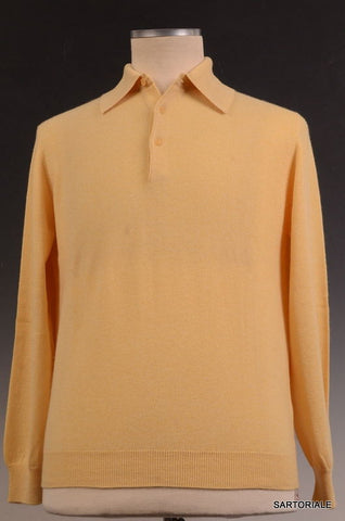 RUBINACCI Napoli Solid Yellow Cashmere Ribbed Polo Sweater NEW - SARTORIALE - 1