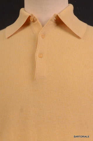 RUBINACCI Napoli Solid Yellow Cashmere Ribbed Polo Sweater NEW - SARTORIALE - 2