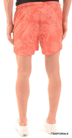 RUBINACCI Napoli Corall Floral Cotton Bathing Suit Swim Shorts Trunks 48 M NEW - SARTORIALE - 2