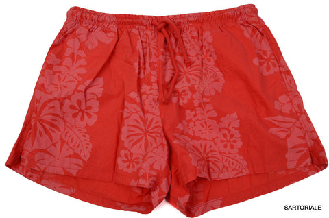 RUBINACCI Napoli Red Floral Cotton Bathing Suit Swim Shorts Trunks EU 60 NEW US - SARTORIALE - 1