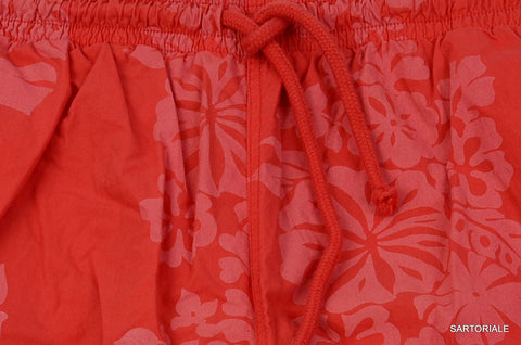 RUBINACCI Napoli Red Floral Cotton Bathing Suit Swim Shorts Trunks EU 60 NEW US - SARTORIALE - 2