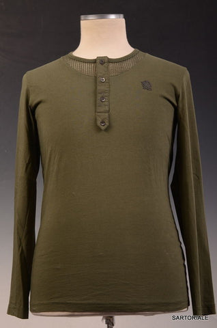 ALEXANDER MCQUEEN Green Cotton Long Sleeve Henley Shirt Size S NEW - SARTORIALE