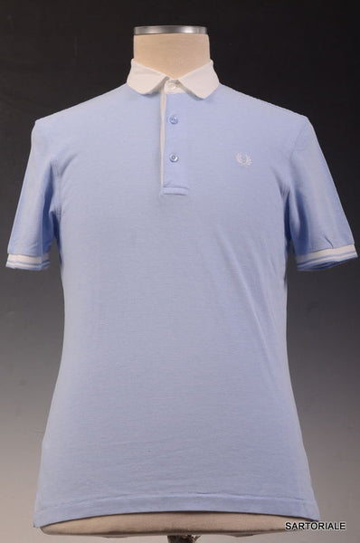 FRED PERRY Blue Cotton Short Sleeve Slim Fit Polo Shirt Size M - SARTORIALE - 1