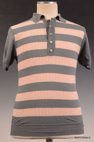 JOHN RICHMOND DENIM Gray Striped Cotton Short Sleeve Polo Shirt Size S NEW - SARTORIALE - 1