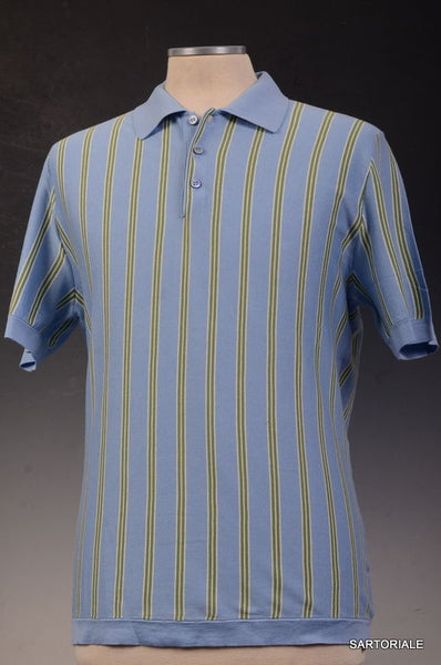 KITON Napoli Made In Italy Blue Striped Cotton Short Sleeve Polo Shirt EU 50 NEW US M - SARTORIALE - 1