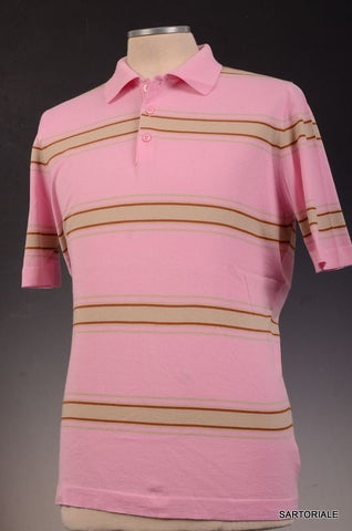 KITON Napoli Pink Striped Cotton Short Sleeve Polo Shirt EU 50 NEW US M - SARTORIALE - 1
