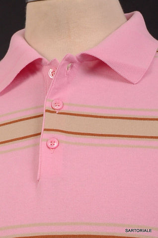 KITON Napoli Pink Striped Cotton Short Sleeve Polo Shirt EU 50 NEW US M - SARTORIALE - 2