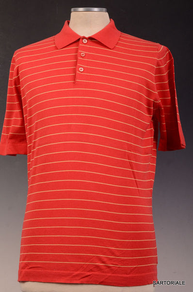 KITON Napoli Red Striped Cotton Short Sleeve Polo Shirt EU 50 NEW US M - SARTORIALE - 1