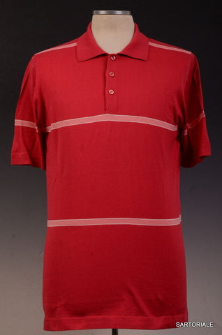 KITON Napoli Made In Italy Red Striped Cotton Short Sleeve Polo Shirt NEW - SARTORIALE - 1