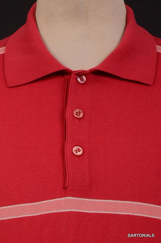 KITON Napoli Made In Italy Red Striped Cotton Short Sleeve Polo Shirt NEW - SARTORIALE - 2