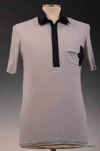 LES HOMMES MANTOVA White Striped Cotton Short Sleeve Polo Shirt US XS NEW EU 46 - SARTORIALE - 1