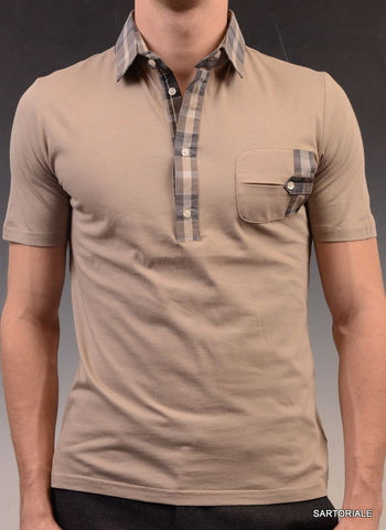 LES HOMMES Taupe Cotton Short Sleeve Polo Shirt US S NEW EU 48 - SARTORIALE - 1