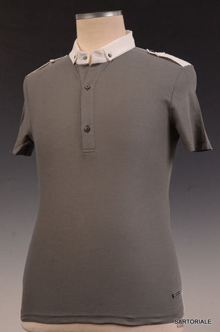 R.E.D. VALENTINO Gray Cotton Short Sleeve Button Down Polo Shirt Size M NEW - SARTORIALE - 1