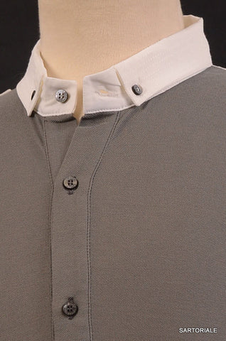 R.E.D. VALENTINO Gray Cotton Short Sleeve Button Down Polo Shirt Size M NEW - SARTORIALE - 2