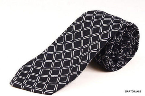 KITON Napoli Hand-Made Seven Fold Black Plaid Silk-Cashmere Tie NEW - SARTORIALE - 1