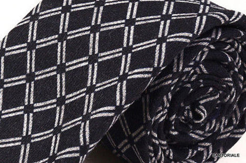 KITON Napoli Hand-Made Seven Fold Black Plaid Silk-Cashmere Tie NEW - SARTORIALE - 2