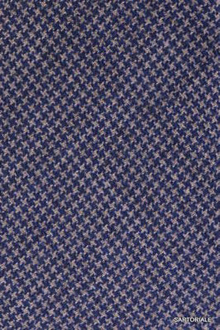 KITON Napoli Hand-Made Seven Fold Blue Houndstooth Wool-Silk Tie NEW - SARTORIALE - 3