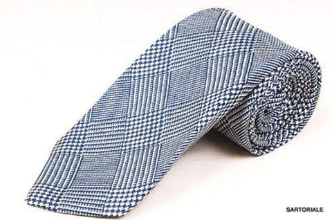 KITON Napoli Hand-Made Seven Fold Blue Plaid Silk Tie NEW - SARTORIALE - 1