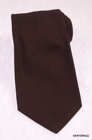 KITON Napoli Hand-Made Seven Fold Brown Herringbone Textured Silk Tie NEW - SARTORIALE - 1